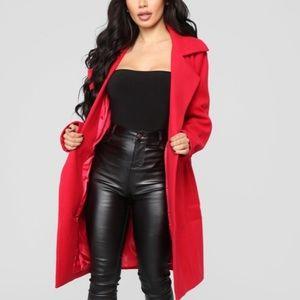 NWT Fashion Nova Upper East Side Coat RED 1X